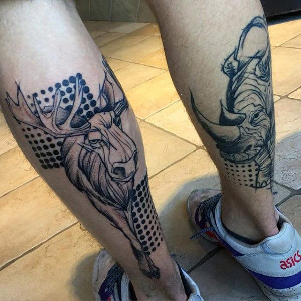 Abstract Moose Leg Calf Tattoos For Men