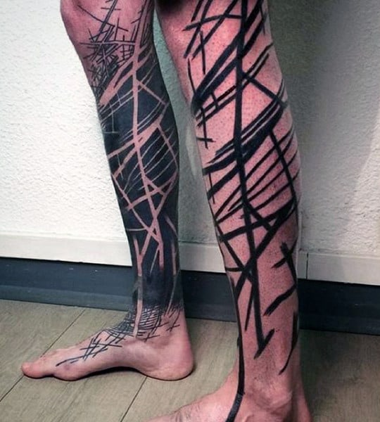 Abstract Negative Space Black Ink Linework Unique Mens Leg Sleeve Tattoos