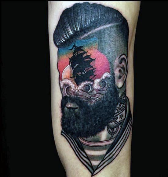 Abstract Old School Sailor Tattoos For Men