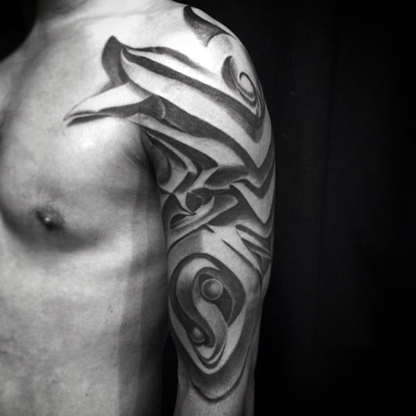 Abstract Optical Illusion Graffiti Tattoo For Men Half Sleeve