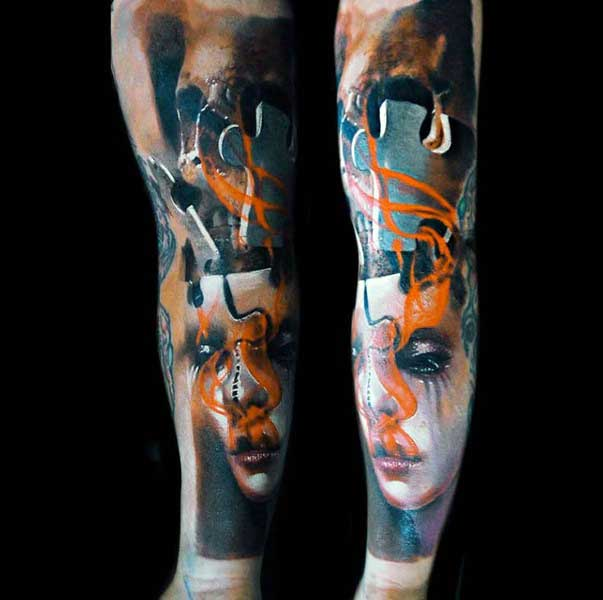 Abstract Orange And Blue Skull Potrait Mens Puzzle Piece Tattoos