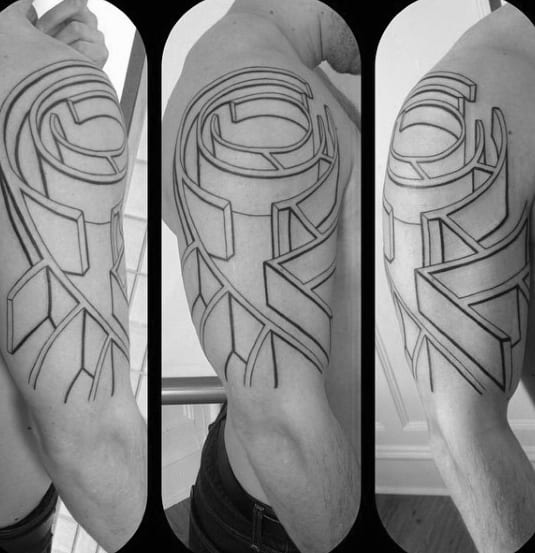 Abstract Outline Maze Male Arm Tattoo
