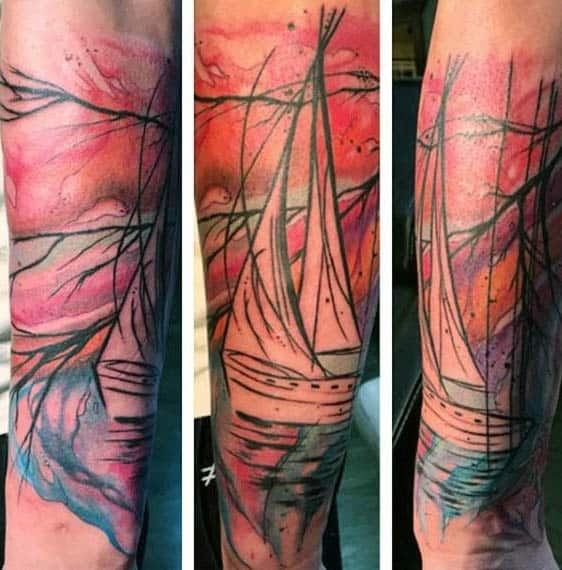 Abstract Painting Of Sailboat Tattoo On Mans Wrist
