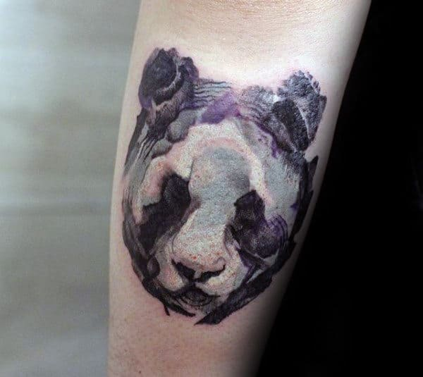 Abstract Panda Watercolor Mens Small Forearm Tattoos