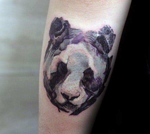 Abstract Panda Watercolor Mens Small Forearm Tattoos
