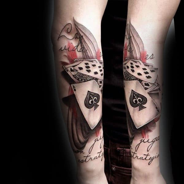 Abstract Playing Card Forearm Tattoos For Gentlemen