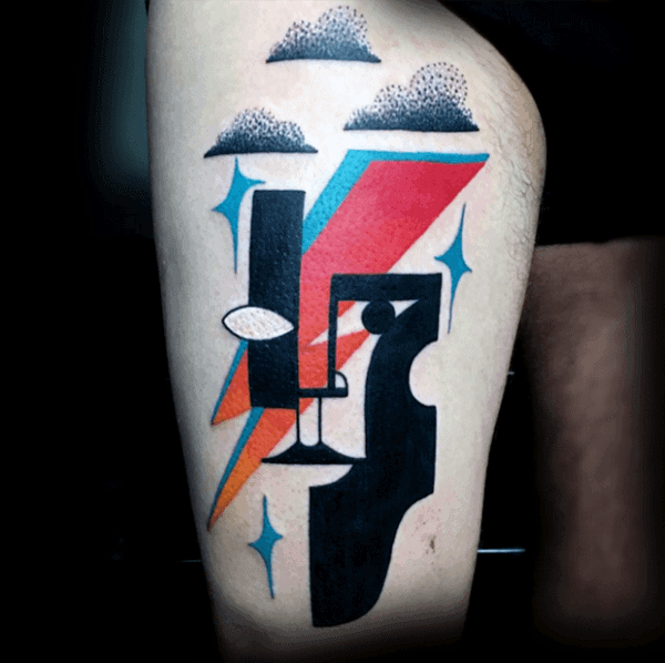Abstract Pop Art Mens Portrait Thigh Tattoos