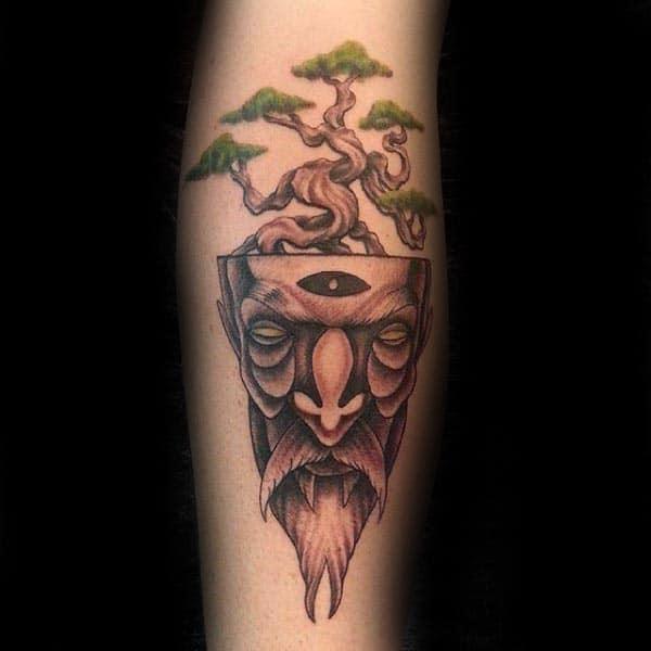 Abstract Portrait Bonsai Tree Arm Tattoo On Man