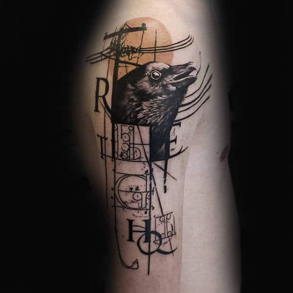 Abstract Power Line With Crow Tattoo For Men On Upper Arm