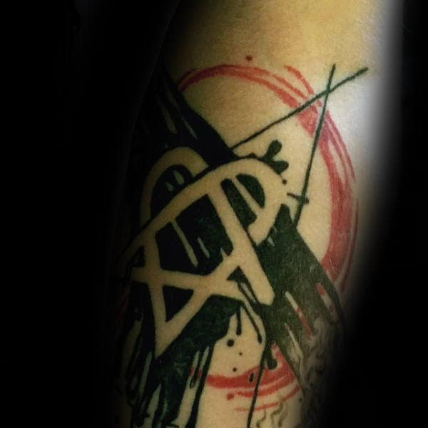 Abstract Red And Black Ink Heartagram Negative Space Tattoos For Men On Forearms
