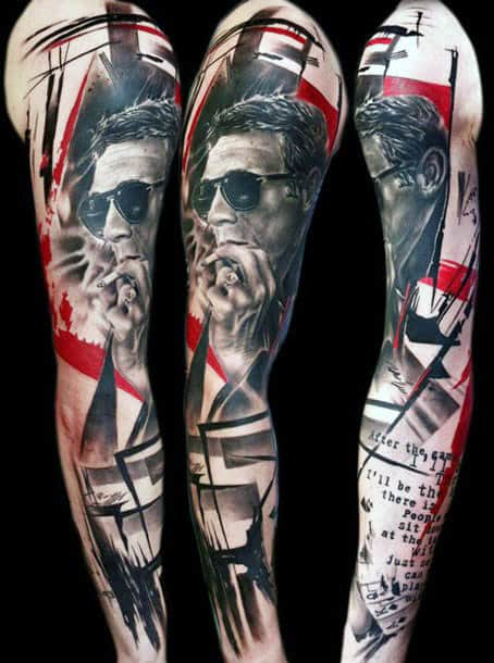 Abstract Red Ink Sleeves Tattoos For Men