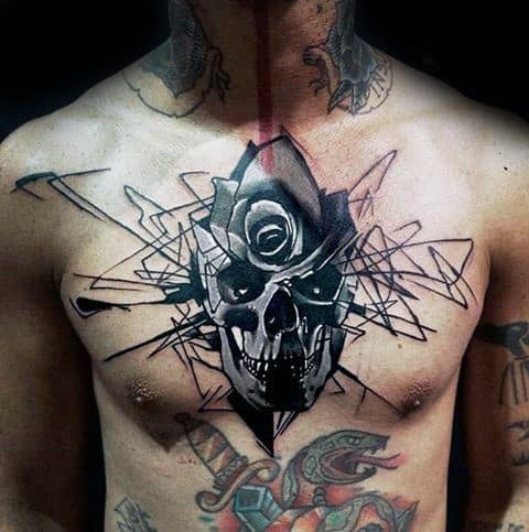 Abstract Rose Flower Skull Black Ink Lines Guys Shaded Upper Chest Tattoos
