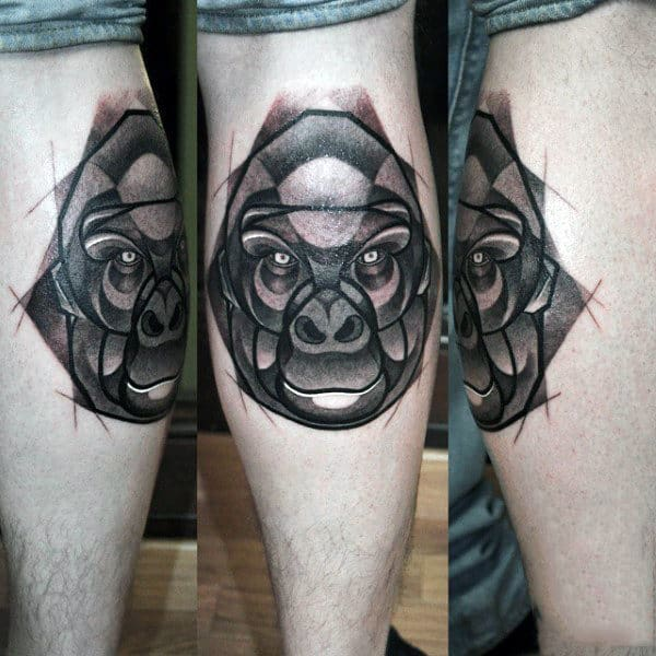 Abstract Shaped Gorilla Mens Leg Calf Tattoo Design Ideas