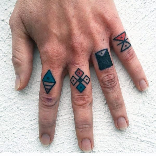 Abstract Shapes Tattoos For Knuckles On Man