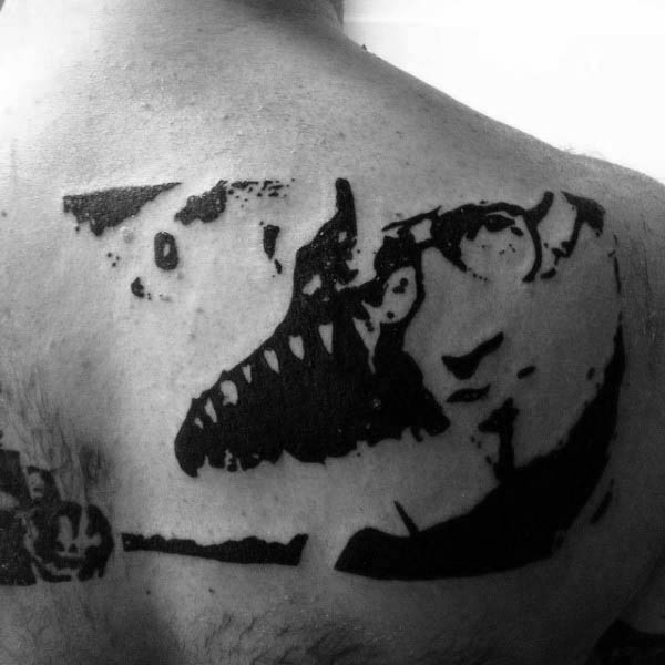 Abstract Shark Silhouette Mens Back Tattoos