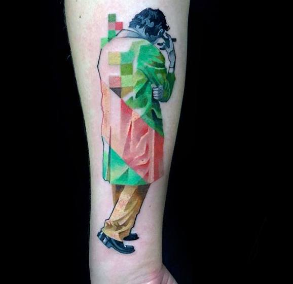 Abstract Side Of Forearm Mens Pixel Tattoo Design Ideas