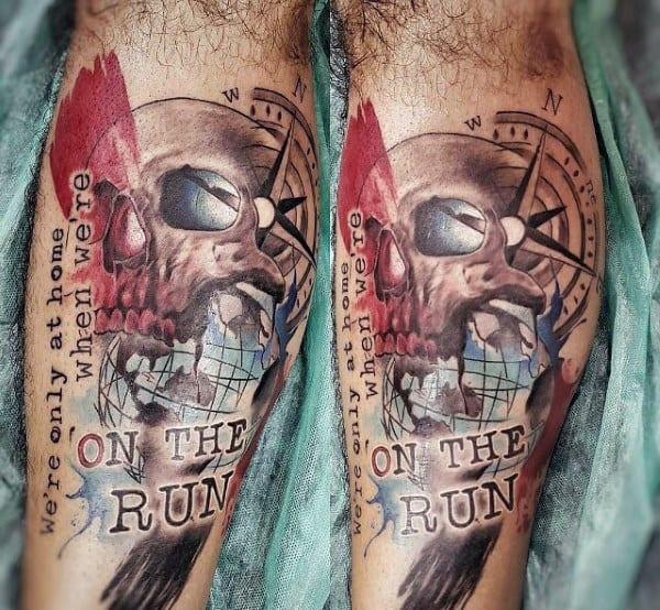Abstract Skull Globe On The Run Guys Travel Leg Tattos