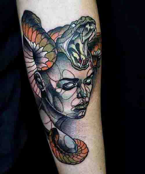 Abstract Snake Fangs Medusa Forearm Tattoos