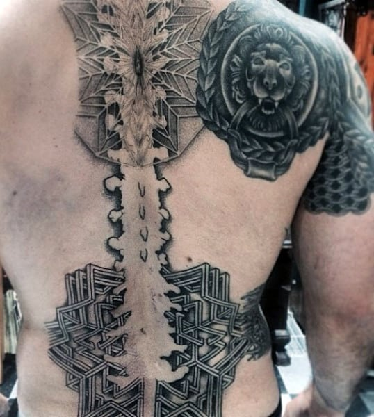 Abstract Spinal Cord Geometric Back Tattoo For Males