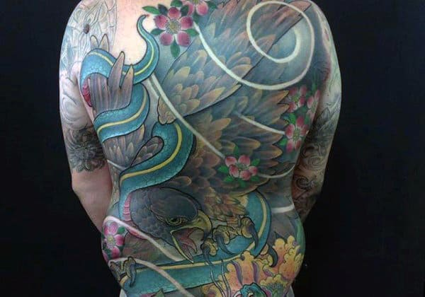 Abstract Spiral Patten Full Back Tattoo Of Hawk For Guys