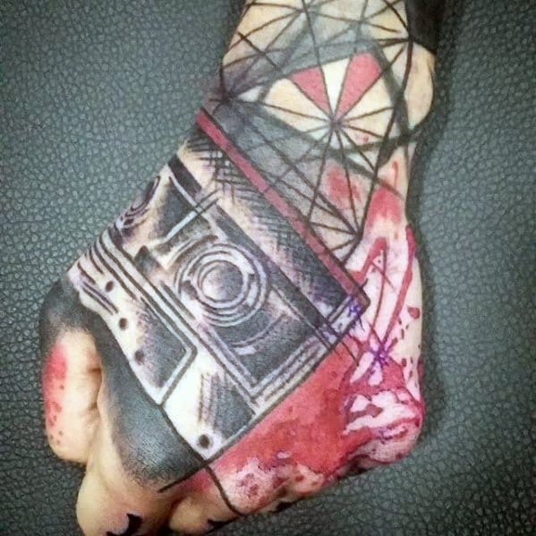 Abstract Tap Red And Black Ink Geometric Hand Tattoos For Gentlemen