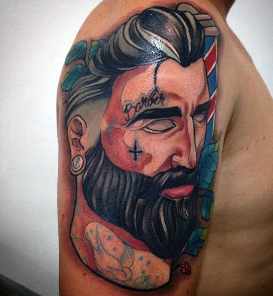 Abstract Tattoo Of Male Barber On Upper Arm