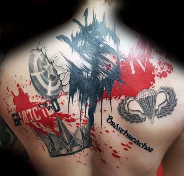 Abstract Trash Polka Male Back Tattoos