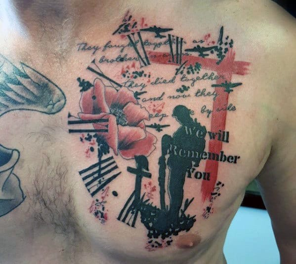 Abstract Trash Polka Poppy Flower Memorial Fallen Soldier Mens Chest Tattoo