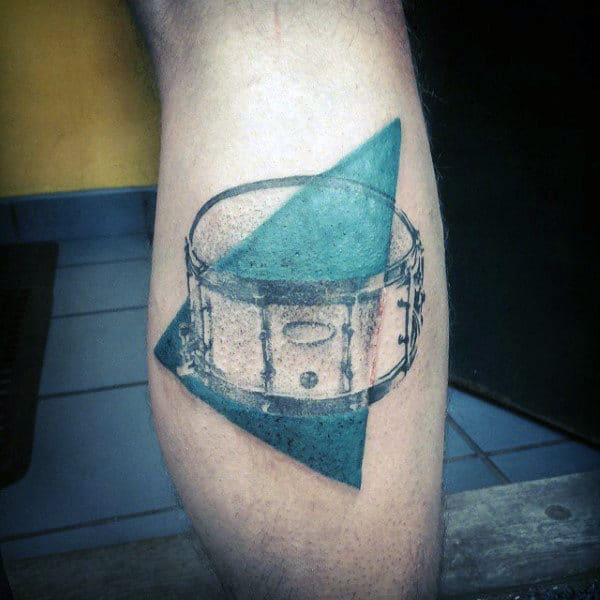Abstract Triangle Drum Leg Calf Guys Tattoo