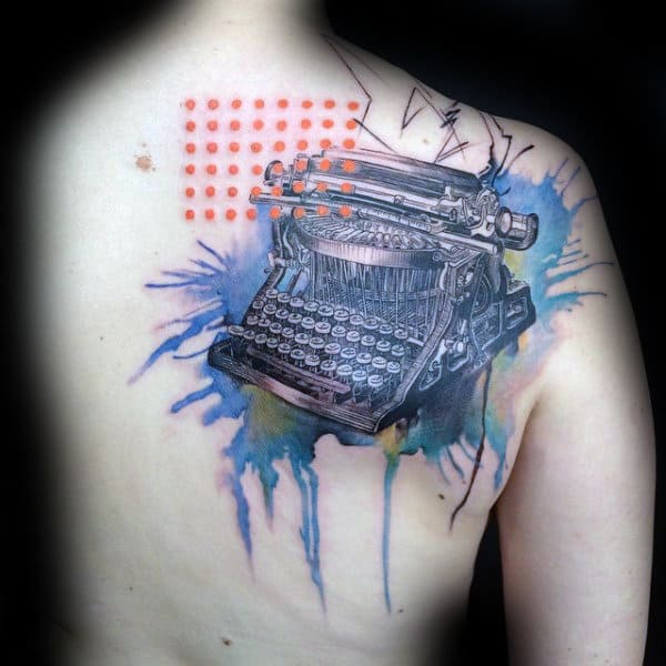 Abstract Typewriter Mens Watercolor Back Tattoo