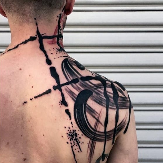Abstract Unique Shoulder Tattoos For Men With Paint Brush Stroke Design
