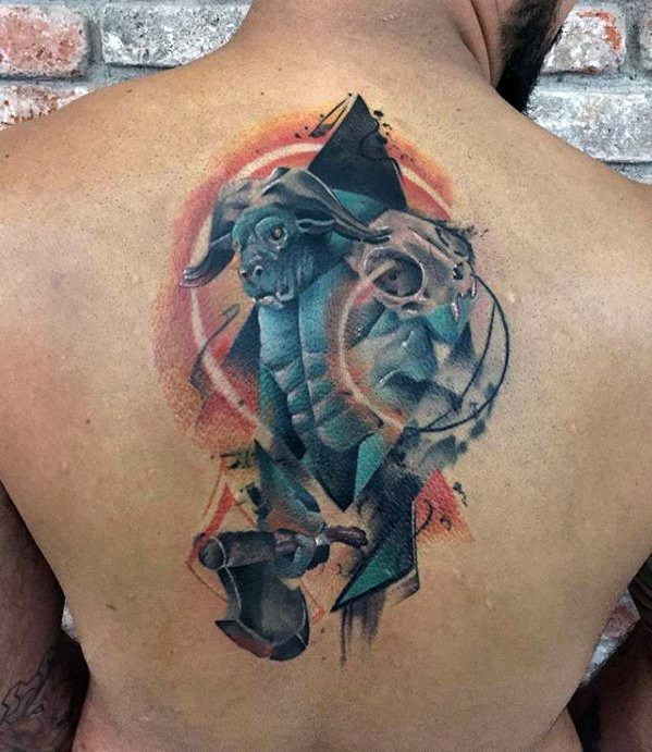 Abstract Watercolor Back Minotaur Mens Tattoo Designs