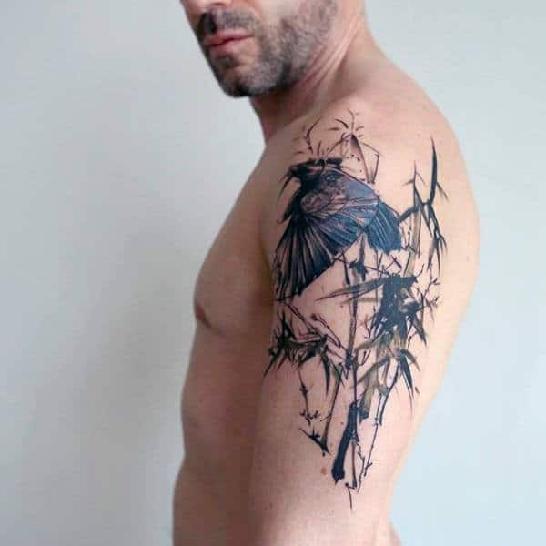 Abstract Watercolor Bamboo With Bird Arm Tattoo On Man