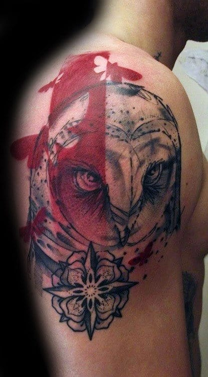 Abstract Watercolor Barn Owl Upper Arm Tattoos For Men