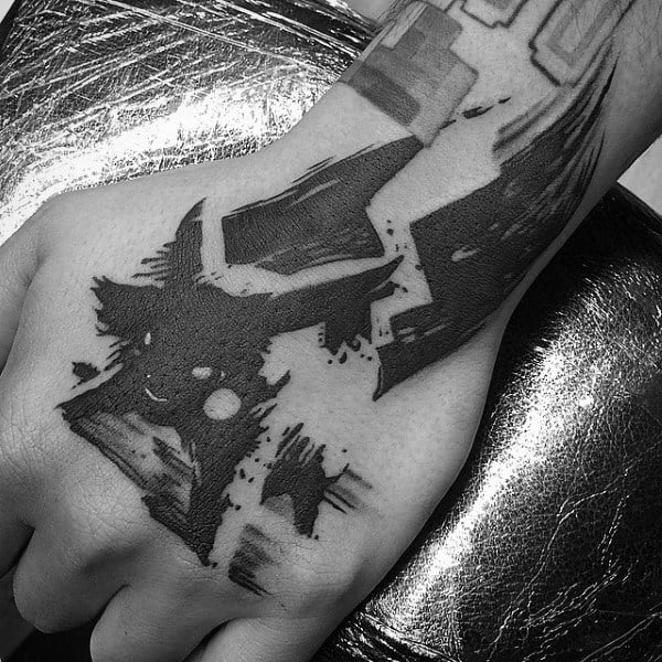 Abstract Watercolor Black Ink Pokemon Pikachu Mens Tattoo On Hand