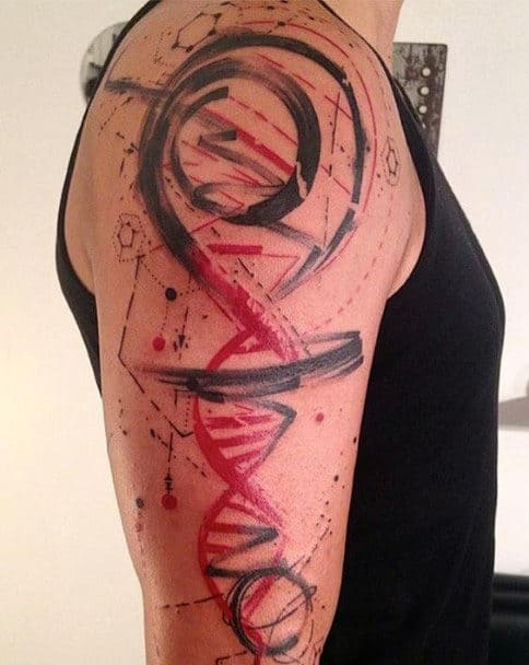 Abstract Watercolor Dna Upper Arm Tattoo For Guys