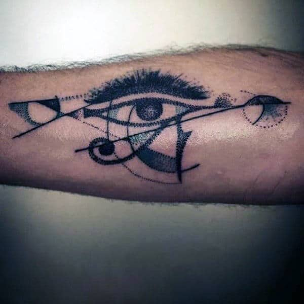 Abstract Watercolor Eye Of Horus Arm Tattoo
