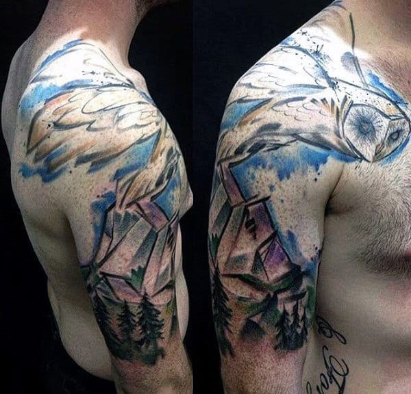 100 forest tattoo designs for men masculine tree ink ideas for Upper arm tattoos