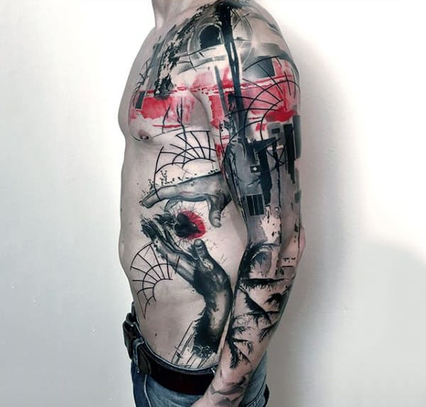 Abstract Watercolor Full Sleeve Amazing Tattoos For Men