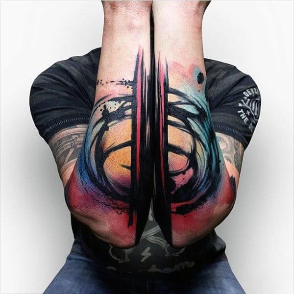Abstract Watercolor Guys Outer Forearm Unique Tattoos With Colorful Design