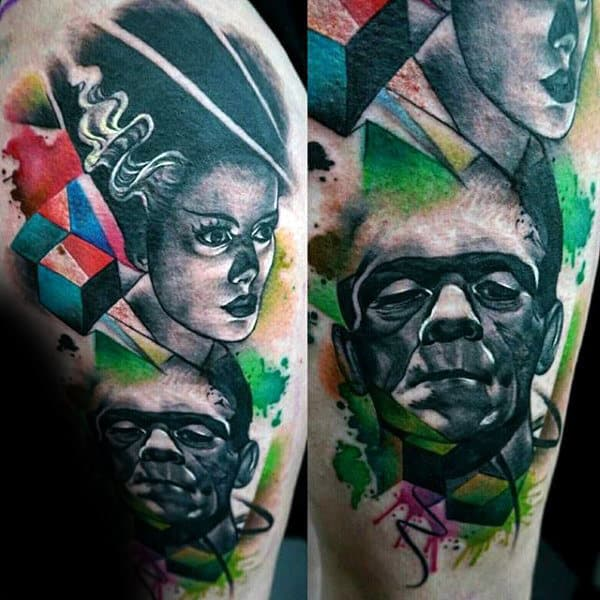 Abstract Watercolor Male Frankenstein Tattoo Ideas