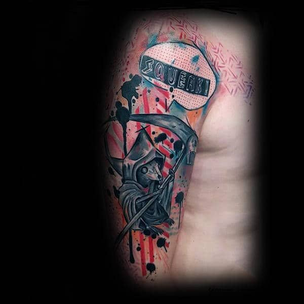 Abstract Watercolor Male Grim Reaper Themed Rat Tattoo On Arm