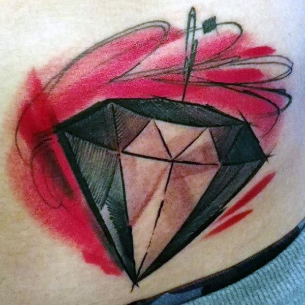 Abstract Watercolor Mens Rib Cage Side Diamond Tattoo With Red Ink