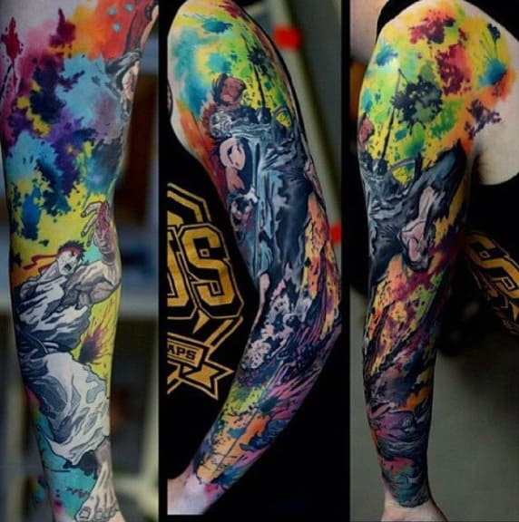 Abstract Watercolor Modern Full Sleeve Tattoos For Males
