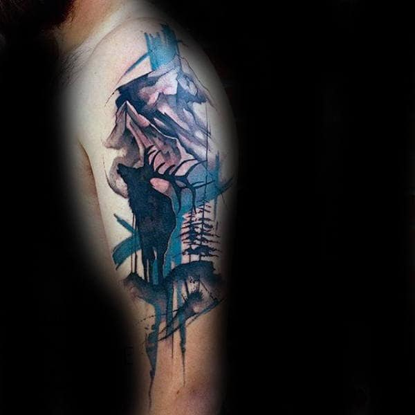 Abstract Watercolor Paint Brush Moose Tattoos For Men On Arm