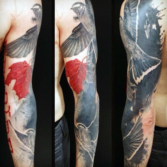 Abstract Watercolor Red Maple Leaf Mens Sleeve Tattoos