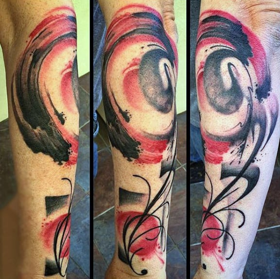 Abstract Watercolor Tattoo On Calves For Guys