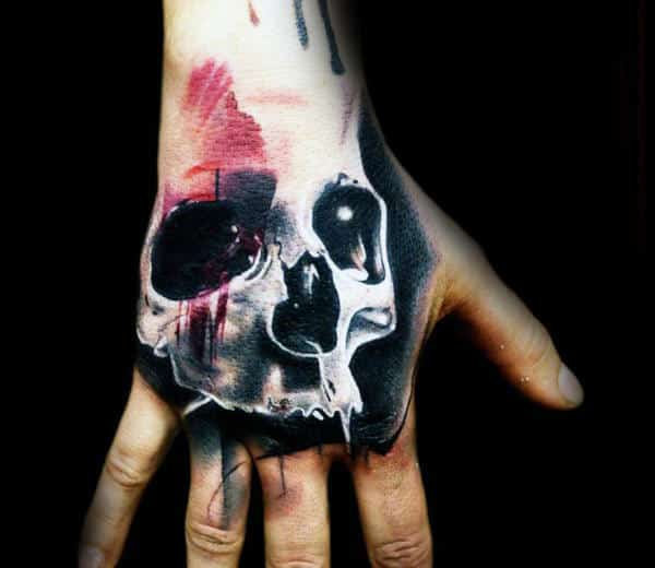 Abstract Wateroclor Skull Hand Tattoos For Guys