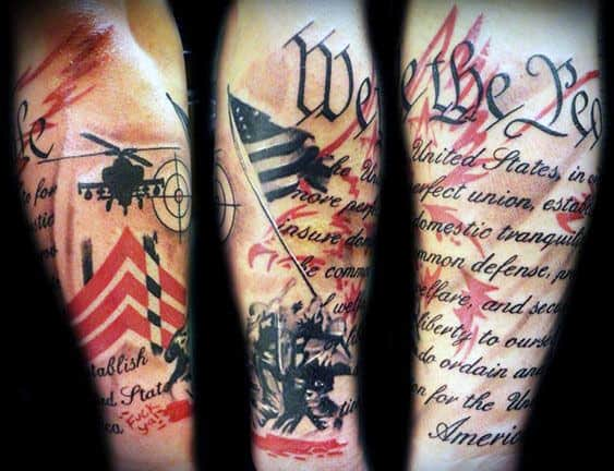 Abstract We The People Military Male Arm Tattoo