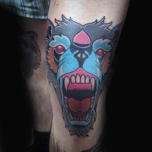 Abstract Wolf Knee Male Tattoos